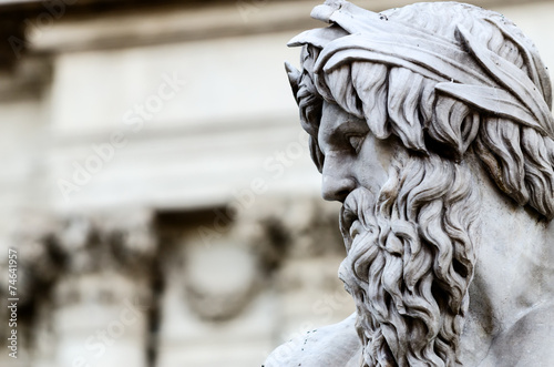 Detail of Zeus in Piazza Navona fountain, Rome Italy Wallpaper Mural