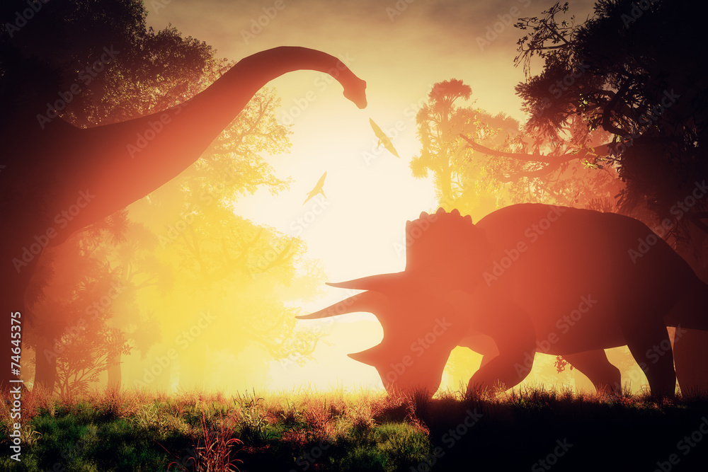 Fotografering  Mysterious Magical Prehistoric Fantasy Scene Sunset Sunrise 3D