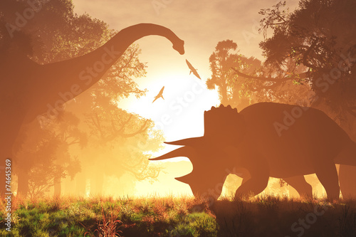 Photo  Mysterious Magical Prehistoric Fantasy Scene Sunset Sunrise 3D