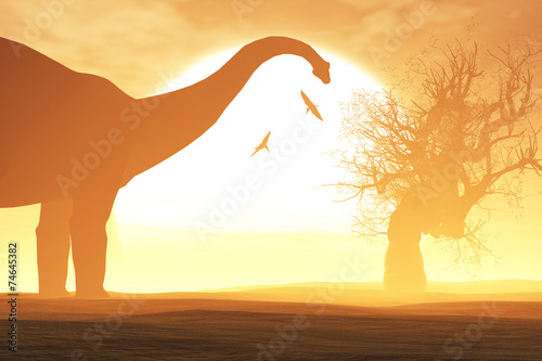 Foto  Mysterious Magical Prehistoric Fantasy Scene Sunset Sunrise 3D