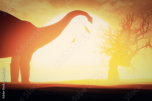 Leinwand Poster  Mysterious Magical Prehistoric Fantasy Scene Sunset Sunrise 3D