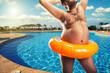 Leinwanddruck Bild - Strange naked man at the pool