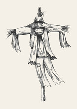 Sketch Illustration Of A Scarecrow