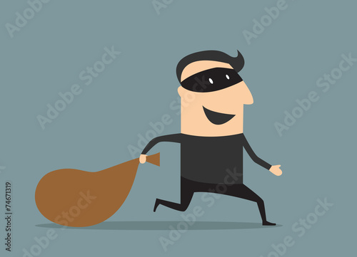 Fotomural  Cartoon thief in mask with sack