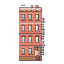 Vector Illustration - New York United States Red Brick Old
