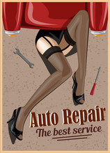 Woman Repairing The Car. Retro Style Illustration