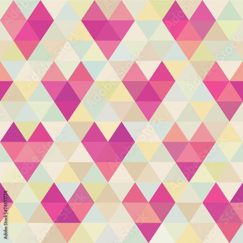 Valentine's Day Seamless Pattern - Retro Geometric Hearts - 74691774
