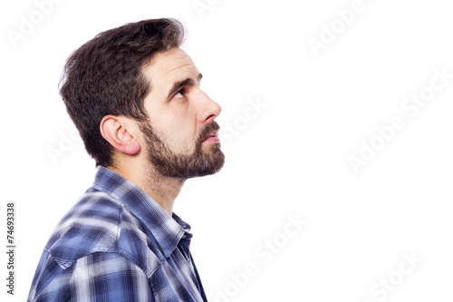 Side View Of A Pensive Casual Man Looking Up Isolated Over Whit Buy This Stock Photo And Explore Similar Images At Adobe Stock Adobe Stock A staring b looking c peeping. side view of a pensive casual man