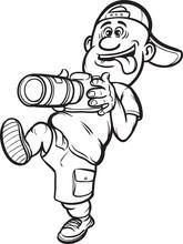 Whiteboard Drawing - Walking Photographer