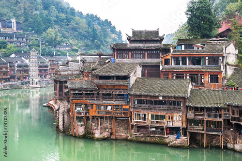 Staande foto China Stilt houses at Fenghuang ancient town, Hunan Province, China