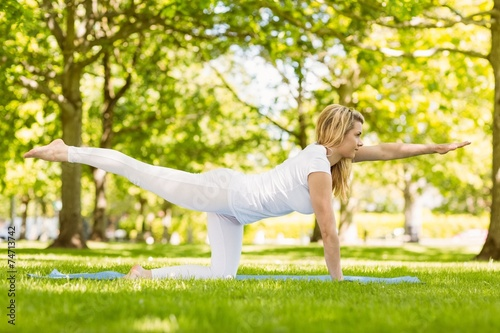 Fit blonde doing yoga in the park