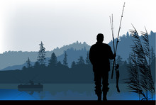 Fisherman Silhouette At Morning