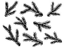 Vektor-Set: Tannenzweige, Vektor, Schwarz, Freigestellt