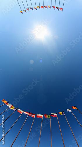 Fotografía international flags against the sky
