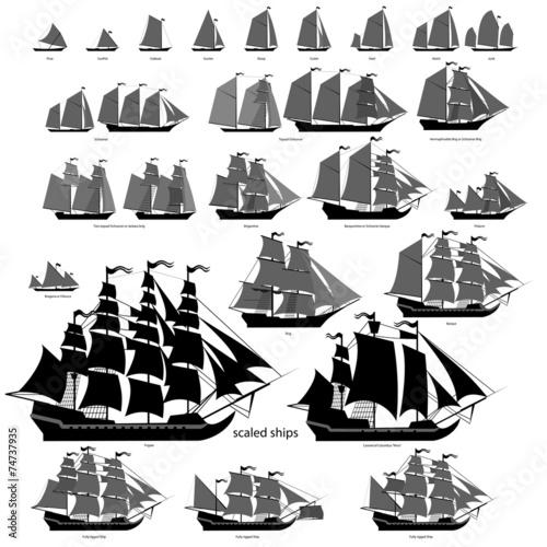 In de dag Schip Vector ships set with separate editable elements.