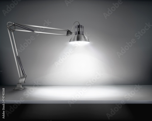 Foto op Canvas Licht, schaduw Office with a desk lamp. Vector illustration.