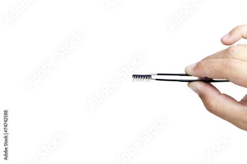 Fotografia, Obraz  micro chip integrated men holding