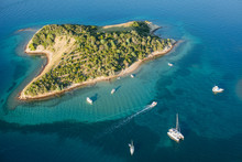 Aerial View Of Croatia Coast Line. Close Rab Island