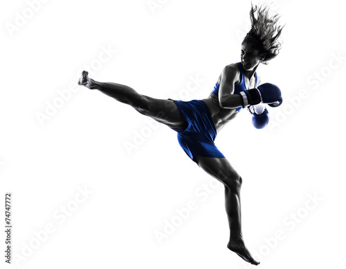 Fotografía woman boxer boxing kickboxing silhouette isolated