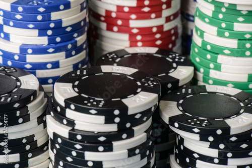 Stacked Poker Chips Poster