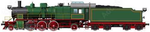 Fotografia the old green steam locomotive