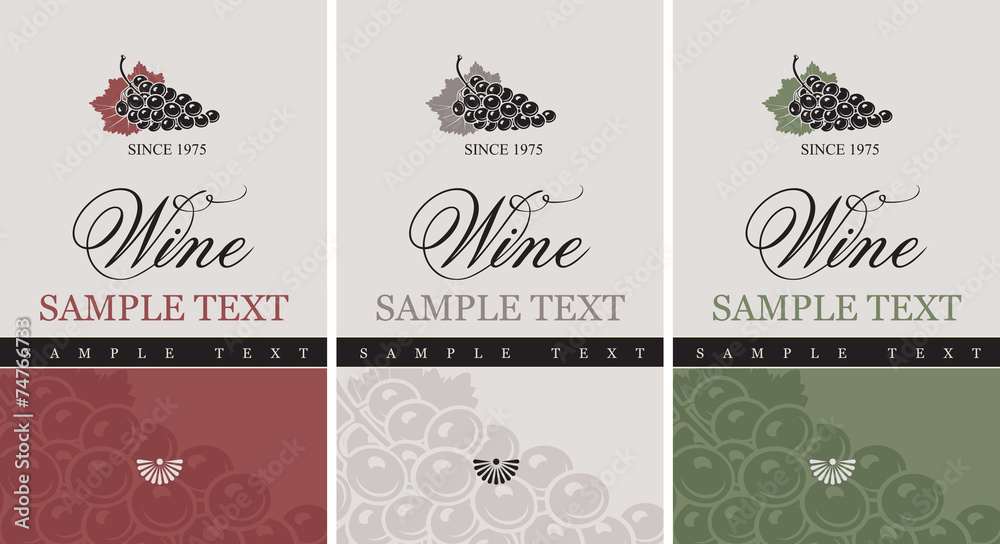 Fototapeta set of vector labels for wine with grapes