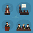 Business concept flat icons set of meeting partnership planning
