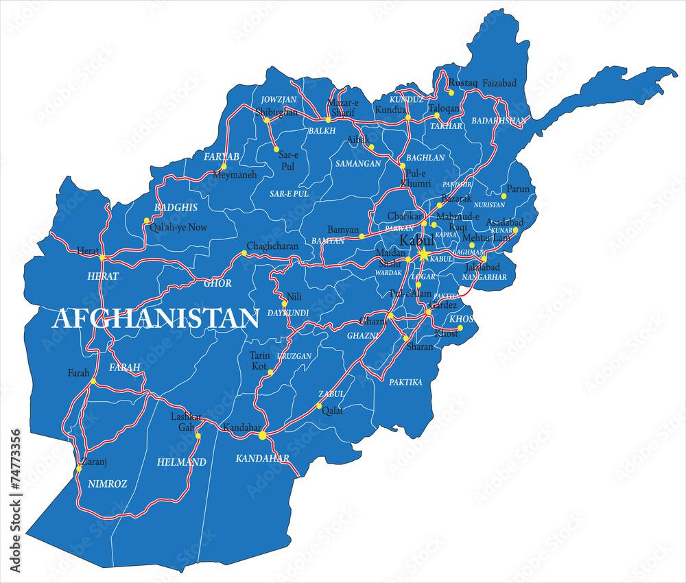 Afghanistan map Foto, Poster, Wandbilder bei EuroPosters