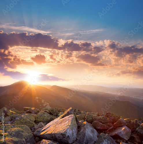 Beautiful Sunset In The Mountains Landscape Dramatic Sky And Co