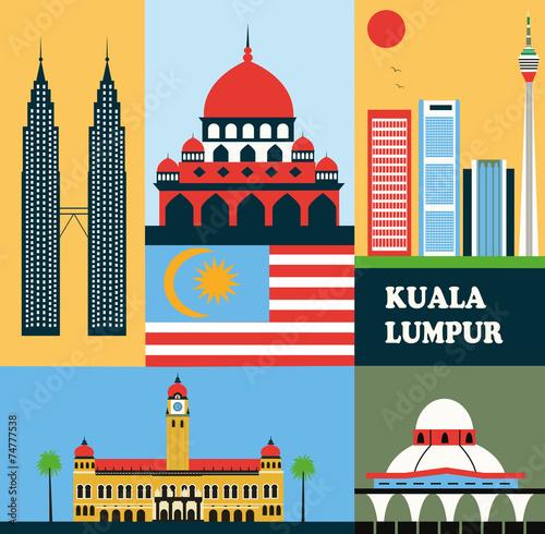 Fototapeta premium Symbols of Kuala Lumpur Malaysia.