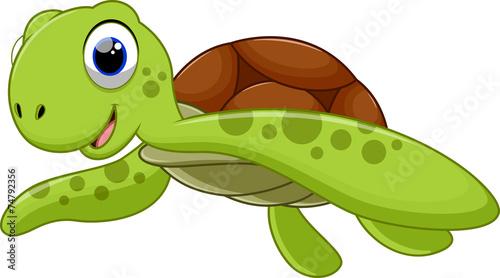 Fotografie, Obraz  Cute turtle cartoon