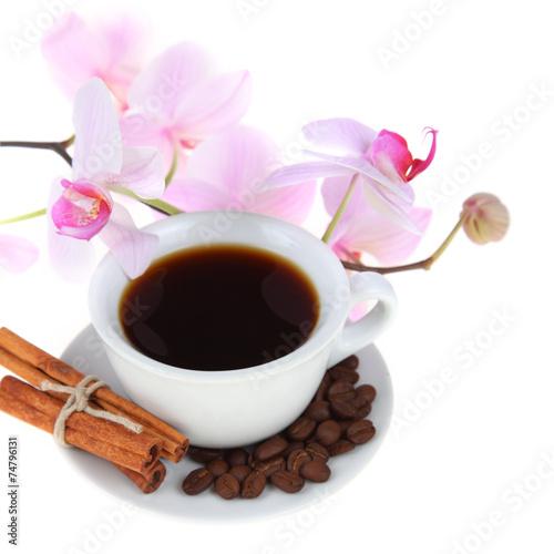 Café en grains Coffee cup and pink orchid