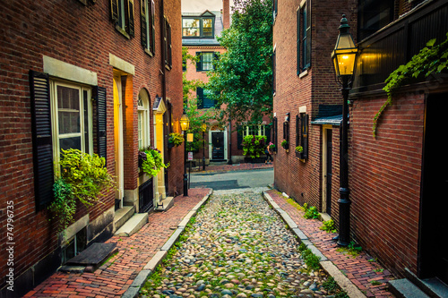 Stampa su Tela Acorn Street, in Beacon Hill, Boston, Massachusetts.