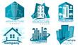 Buildings logos in blue colors