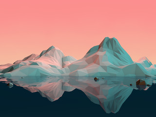 FototapetaLow-Poly 3D Mountain Landscape with Water and Reflection