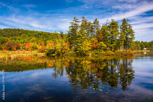 Early autumn color at North Pond, near Belfast, Maine. Wallpaper Mural