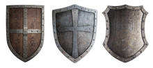 Metal Medieval Shields Set Isolated