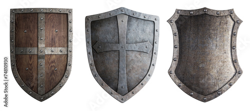Fotografie, Obraz metal medieval shields set isolated