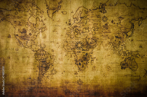 Photo sur Toile Carte du monde old map