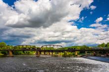 A Train Bridge And The Delaware River In Easton, Pennsylvania.