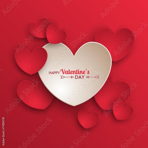 Fotografie, Obraz  Valentine's day background with paper hearts
