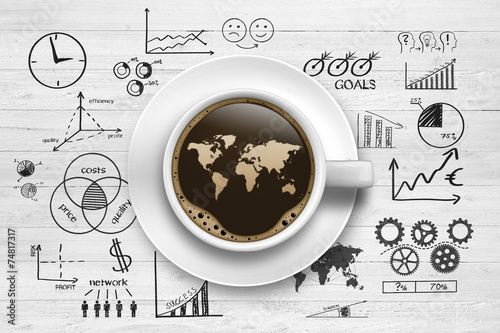 Fotografie, Obraz  Kaffeetasse mit Weltkarte