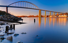 Evening Long Exposure Of The Bridge Over The Chesapeake And Dela