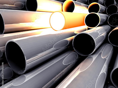 Poster de jardin Metal 3D chrome tubes with overheated tube. Concept - the best.