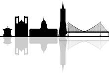 San Francisco California City Skyline Silhouette. Vector Illustr