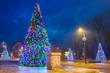 Christmas tree lights in the park, Zakopane in Poland