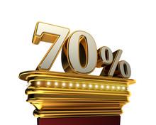 Seventy Percent Figure Over White Background