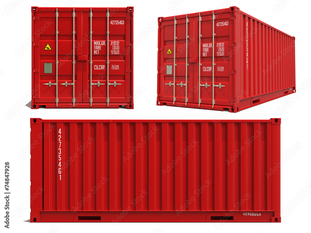 Photo Red Container in 3D Isolated on White.