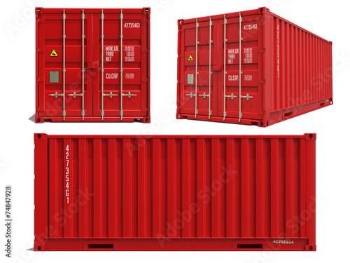 Fotografija Red Container in 3D Isolated on White.