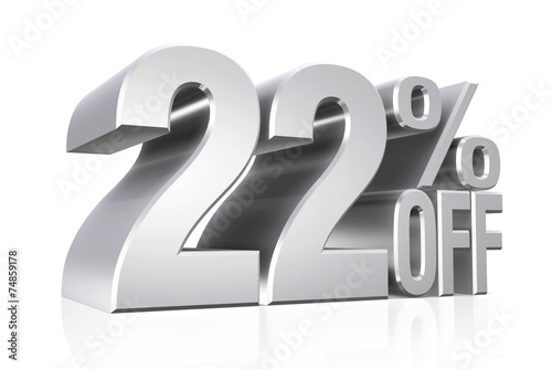 Fotografia  3D render silver text 22 percent off.